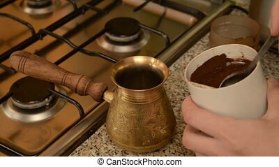 The home coffee in stove. Freshly ground coffee from the...