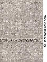 The homespun linen cloth, wrong side - Handmade: fragment of...
