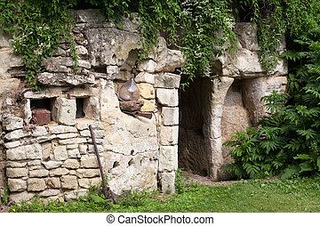 the homestead of troglodytes forged in the rock near Saumur