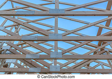 The horizontal beams of a wooden building