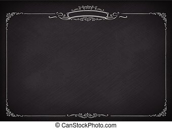 Horizontal vector retro blackboard background with border