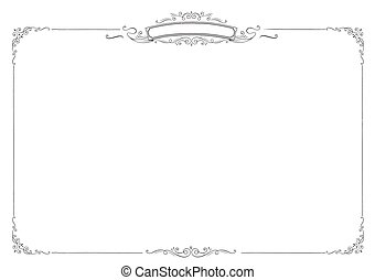 Horizontal vector retro white background with border
