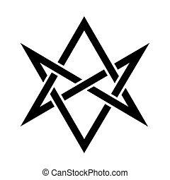 The Horns of Asmodeus (mystical unicursal hexagram) -...