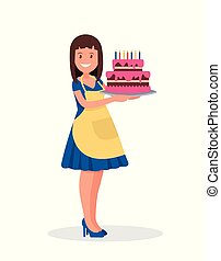 The hostess holds a beautiful cake.