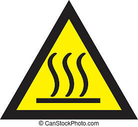 The hot careful triangle sign yellow and black