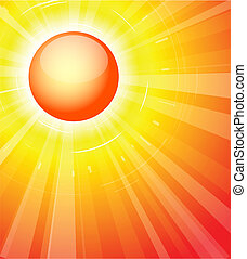 The hot summer sun - abstract background with button