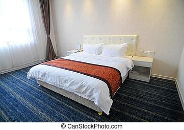 The hotel bedroom