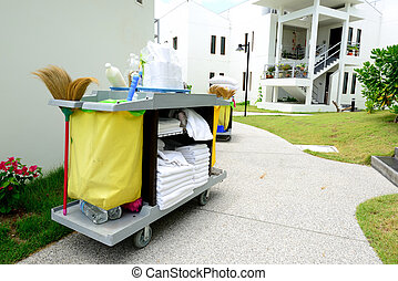 The hotel cleaning tool trolley of for housekeeper.
