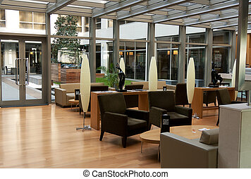 The hotel lobby at the airport in Istanbul, Turkey