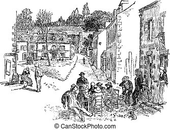 The hour of rest in Pont-Aven, vintage engraving.