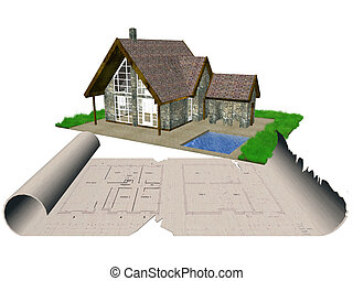 The house and blueprints