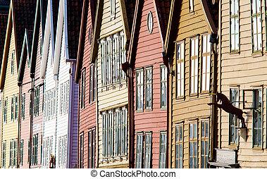 the house front of Bryggen in Bergen, Norway