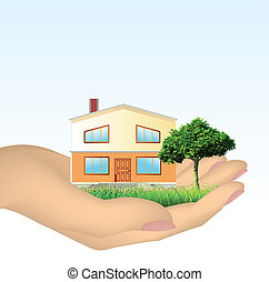 The house in hands. Vector