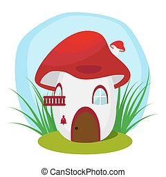 The house in the fungus. Residence worm or an insect. Flat illustration isolated on white background. Vector, EPS10.