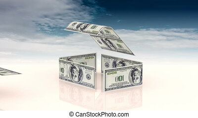 The house is made up of cash bills, the concept of investing...