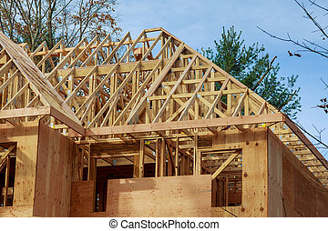 The house is new in wood roofing New Home Construction