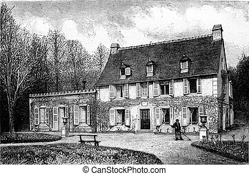 The House of the nurse of Henri IV in Billere, near Pau, vintage engraving.
