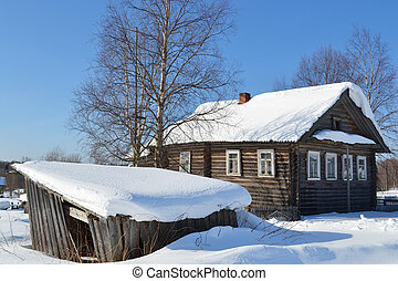 The house of the peasant in Russian village.
