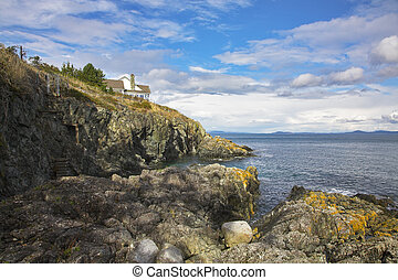The house on abrupt breakage on coast of passage of island...