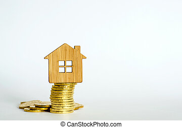 The house symbol is made of bamboo on a stack of yellow shiny coins on a light background.