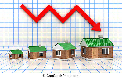 The small houses with a green roof on diagramme background