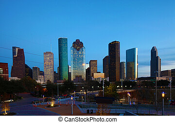 Houston, Texas skyline at twilight