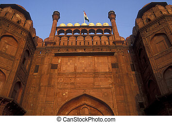 Red Fort - The huge red sandstone entrance to the Red Fort,...