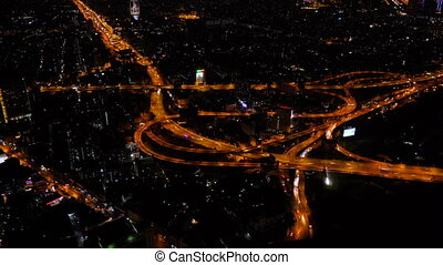 The Huge Traffic in Night Bangkok, View from Skyscrapper, Timelapse Video