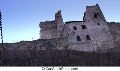 The huge wall of the old castle - The huge stoned wall of...