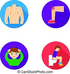 The human body is covered with ulcers, boils, a red rash, a knee of a man with a bruise, a patient with a headache and asterisks, a person sitting on the toilet with stomach disease. Sick set collection icons in flat style vector symbol stock illustration web.