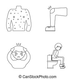 The human body is covered with ulcers, boils, a red rash, a knee of a man with a bruise, a patient with a headache and asterisks, a person sitting on the toilet with stomach disease. Sick set collection icons in outline style raster, bitmap symbol stock illustration web.