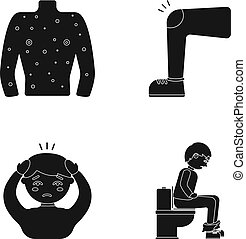 The human body is covered with ulcers, boils, a red rash, a knee of a man with a bruise, a patient with a headache and asterisks, a person sitting on the toilet with stomach disease. Sick set collection icons in black style vector symbol stock illustration web.