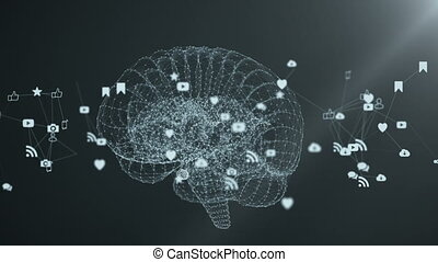 The human brain is formed by spinning multimedia icons. The...