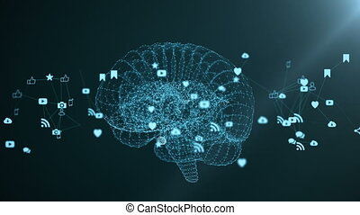 The human brain is formed by spinning multimedia icons.
