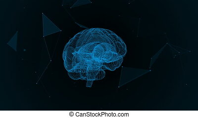 The human brain. Plexus. Beautiful background. The concept of science, medicine and business. Loop animation