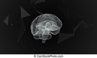 The human brain. Plexus. Beautiful background. The concept of science, medicine and business. Loop animation.