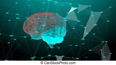 The human brain. Plexus with numbers. Beautiful background. ...