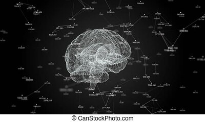 The human brain. Plexus with numbers. Beautiful background. The concept of science, medicine and business. Loop animation