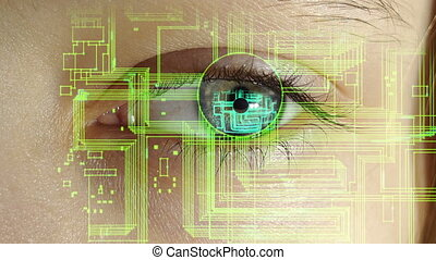 the human eye with the electronic circuits and symbols...