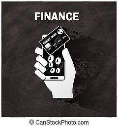 The human hand holding smart phone and credit card application