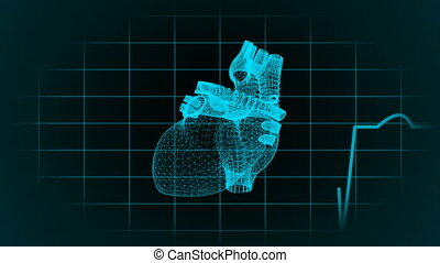 The human heart in the form of particles and plexus....