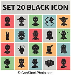 The human race black icons in set collection for design. People and nationality vector symbol stock web illustration.