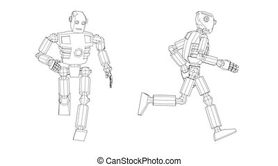 The humanoid robot runs - side and front view. 3d sketch...