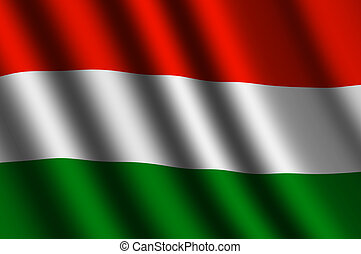 The Hungarian flag flying in the wind.