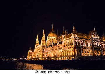 The Hungarian Parliament at night, Budapest, Hungary