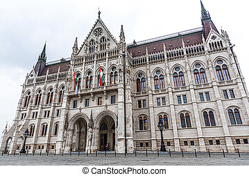 The Hungarian Parliament building on a rainy fall day in Budapest, the capital of Hungary