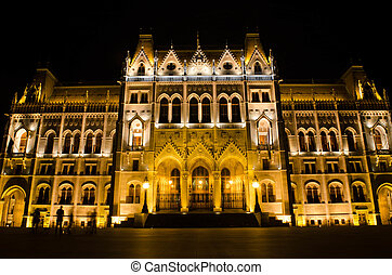 The Hungarian Parliament Building with bright and beautiful illumination at night. It is the seat of the National Assembly of Hungary, one of Europe's oldest legislative buildings