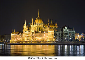 The Hungarian parliament lit up at night.
