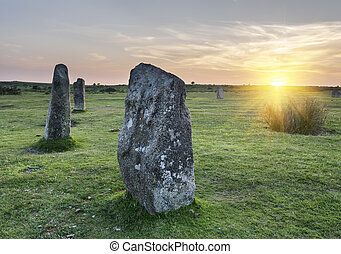 The Hurlers Stone Circle - Standing stones at the Hurlers a...