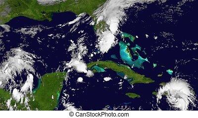The Hurricane Matthew, satellite view, animation. High speed time lapse.